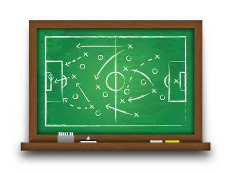 Soccer cup formation and tactic . Chalkboard with football game strategy  Vector for international world championship tournament 2018 concept . Ilustração