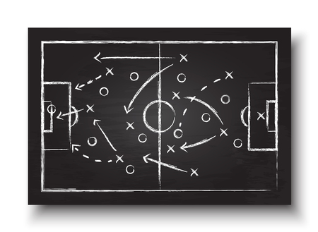 Soccer cup formation and tactic . Blackboard with football game strategy . Vector for international world championship tournament 2018 concept .