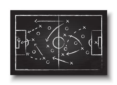 Fußballpokalbildung und Taktik. Tafel mit Fußballspielstrategie. Vektor für internationales Konzept des Weltmeisterschaftsturniers 2018.