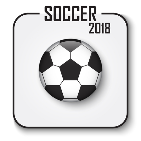 Soccer cup 2018 single icon . Convex style football with shadow on gray isolated background . Vector for international world championship tournament . Standard-Bild - 98277457