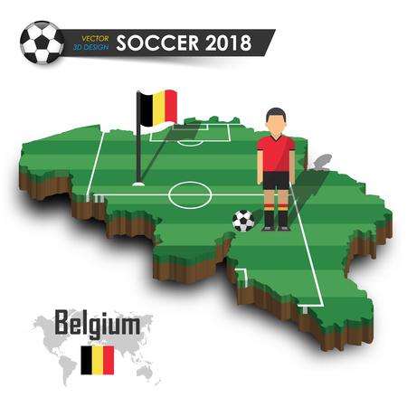Belgium national soccer team . Football player and flag on 3d design country map . isolated background . Vector for international world championship tournament 2018 concept .