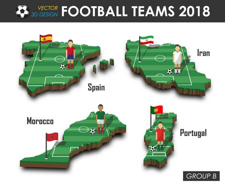 Football teams poster with a set of fields and players Illusztráció