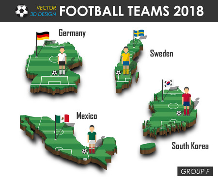 National soccer teams 2018 group F . Football player and flag on 3d design country map . isolated background . Vector for international world championship tournament 2018 concept .