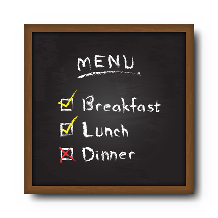 Blackboard and text food menu with check mark . Vector .