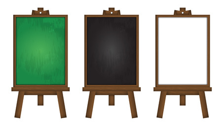 Set of realistic vector blackboard, green board and whiteboard. Stock Illustratie