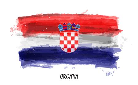 Realistic watercolor painting flag of Croatia . Vector .