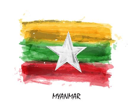 Realistic watercolor painting flag of Myanmar ( Burma ) . Vector .