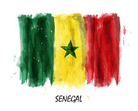 Realistic watercolor painting flag of Senegal . Vector .