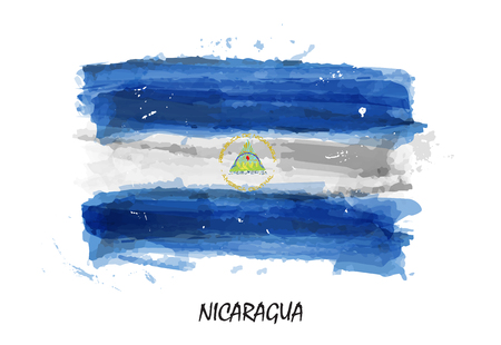 Realistic watercolor painting flag of Nicaragua . Vector .