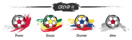 Set of football or soccer national team group H . Watercolor paint art design . Vector for international world championship tournament cup 2018 .