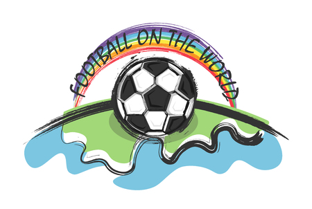 Football on the world and rainbow on whitw background . Doodle and kid drawing style . Flat design . Vector for international world championship tournament cup 2018 . Ilustração