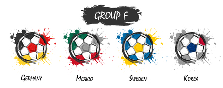 Set of national football team group F . Realistic watercolor art paint with stained splash color . Flat design . Vector for international world championship tournament cup 2018 . Banco de Imagens - 104897990