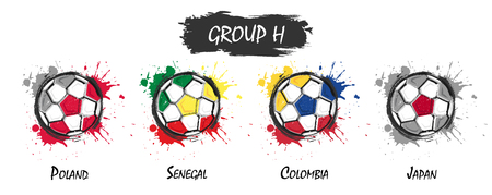 Set of national football team group H . Realistic watercolor art paint with stained splash color . Flat design . Vector for international world championship tournament cup 2018 .