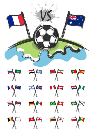 Football on the world with set of national soccer team flags for edit this image . Sport match concept . Watercolor art child painting flat design . Vector for international tournament cup 2018 . Ilustração