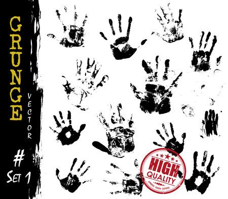 Set of Grunge style handprints . Elements vector .