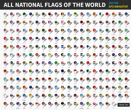 All official national flags of the world . GPS navigator pin design in white background . Vector .