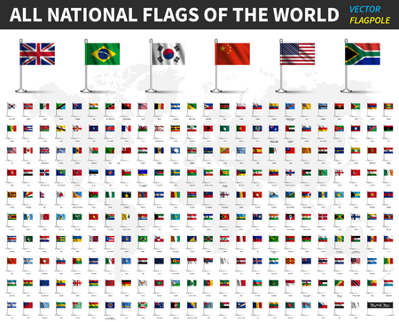 All national flags of the world . Realistic waving fabric with flagpole and shadow design . Vector . Ilustrace