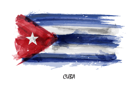 Realistic watercolor painting flag of Cuba . Vector .