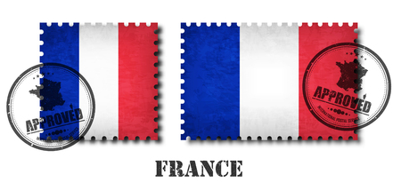 France or french flag pattern postage stamp with grunge old scratch texture and affix a seal on isolated background . Black color country name with abrasion . Square and rectangle shape . Vector .