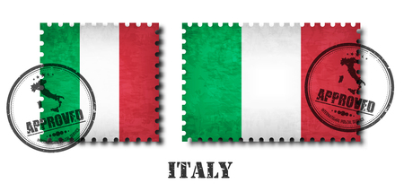 Italy or italian flag pattern postage stamp with grunge old scratch texture and affix a seal on isolated background . Black color country name with abrasion . Square and rectangle shape . Vector .