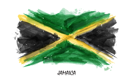 Realistic watercolor painting flag of Jamaica . Vector . ( Not auto trace . Use watercolour brush ) .