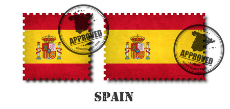 Spanien oder spanische Flagge Muster-Briefmarke mit Schmutz alten Kratztextur und befestigen Sie ein Siegel auf lokalisiertem Hintergrund. Schwarzer Ländername mit Abrieb. Quadrat- und Rechteckform. Vektor.
