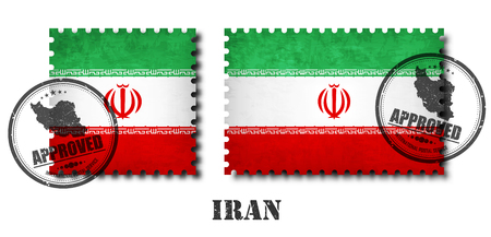 Iran or iranian flag pattern postage stamp with grunge old scratch texture and affix a seal on isolated background . Black color country name with abrasion . Square and rectangle shape . Vector .