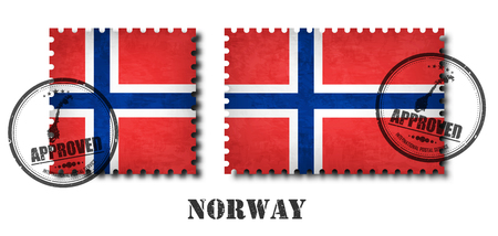 Norway or norwegian flag pattern postage stamp with grunge old scratch texture and affix a seal on isolated background . Black color country name with abrasion . Square and rectangle shape . Vector . Stock Illustratie