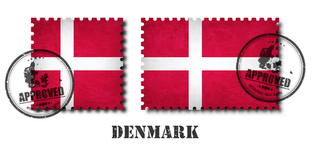 Denmark or danish flag pattern postage stamp with grunge old scratch texture and affix a seal on isolated background . Black color country name with abrasion . Square and rectangle shape . Vector .