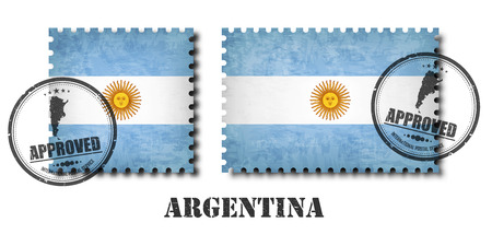 Argentina or argentinian flag pattern postage stamp with grunge old scratch texture and seal on isolated background . Black color country name with abrasion . Square and rectangle shape . Vector .