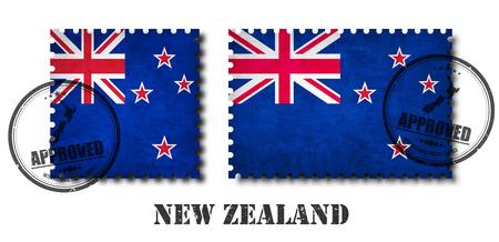 Neuseeland-Flaggenmuster-Briefmarke mit alter Kratzerbeschaffenheit des Schmutzes und Anbringen eines Siegels auf lokalisiertem Hintergrund. Schwarzer Ländername mit Abrieb. Quadrat- und Rechteckform. Vektor.