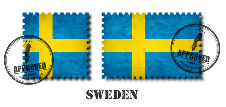 Sweden or swedish flag pattern postage stamp with grunge old scratch texture and affix a seal on isolated background . Black color country name with abrasion . Square and rectangle shape . Vector .