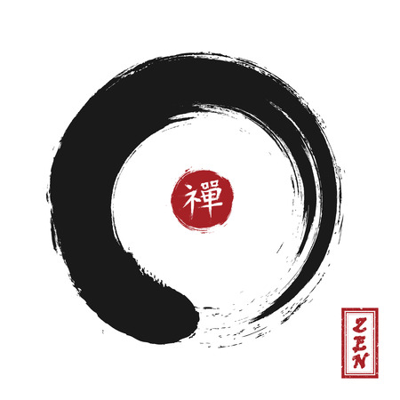 Enso zen circle style . Sumi e design . Black color . Red circular stamp and kanji calligraphy ( Chinese . Japanese ) alphabet translation meaning zen . White isolated background . Vector illustration .