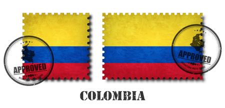 Colombia or colombian flag pattern postage stamp with grunge old scratch texture and affix a seal on isolated background . Black color country name with abrasion . Square and rectangle shape . Vector .