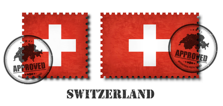 Switzerland or swiss flag pattern postage stamp with grunge old scratch texture and seal on isolated background . Black color country name with abrasion . Square and rectangle shape . Vector .