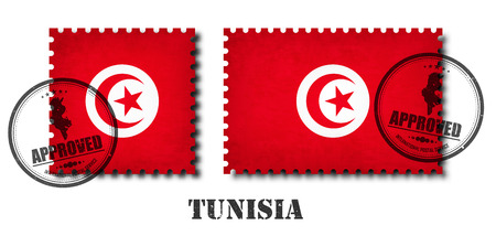 Tunisia or Tunisian flag pattern postage stamp with grunge old scratch texture and affix a seal on isolated background . Black color country name with abrasion . Square and rectangle shape . Vector .