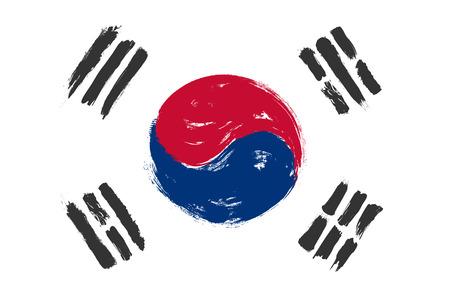 Drapeau de la Corée du Sud avec un design de peinture à l'aquarelle grunge. Illustration vectorielle.