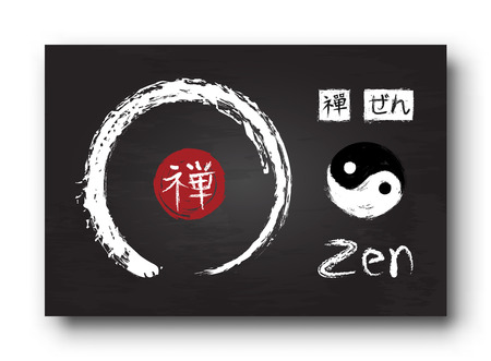 Enso zen circle with kanji calligraphy ( Chinese . Japanese ) alphabet translation meaning zen . Yin and yang symbol . Black color chalkboard background with old scratch texture . Vector illustration .