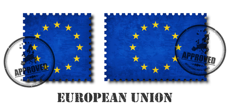 European union flag ( EU ) pattern postage stamp with grunge old scratch texture and affix a seal on isolated background . Black color country name with abrasion . Square and rectangle shape . Vector . Stock Illustratie