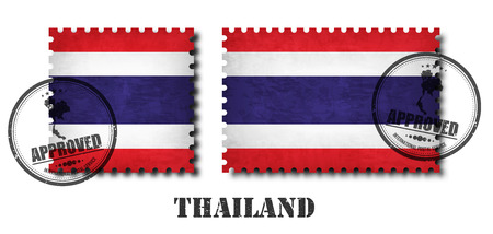 Thailand or thai flag pattern postage stamp with grunge old scratch texture and affix a seal on isolated background . Black color country name with abrasion . Square and rectangle shape . Vector . Illustration
