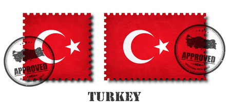 Turkey or turkish flag pattern postage stamp with grunge old scratch texture and affix a seal on isolated background . Black color country name with abrasion . Square and rectangle shape . Vector .