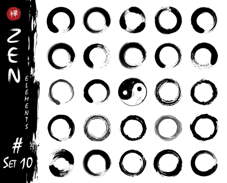 Enso zen circle set elements . Ink grungy watercolor pattern painting design . White isolated background . Vector illustration .
