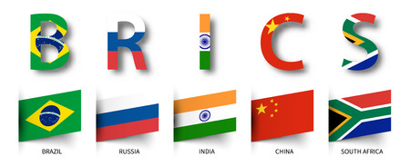 BRICS . Association of 5 countries and flags . isolated background . Vector .