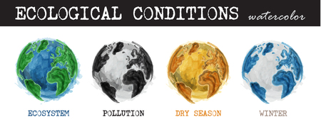 Ecological conditions . Realistic watercolor painting design . 4 condition of world are ecosystem , pollution , dry season , winter . Isolated background . Environment and Global warming concept . Illustration