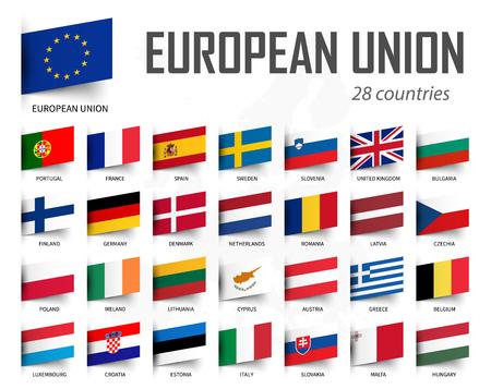 European Union flag . EU and membership . Europe map background . Vector .