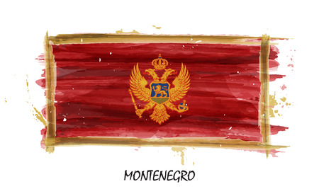 Realistic watercolor painting flag of Montenegro . Vector .