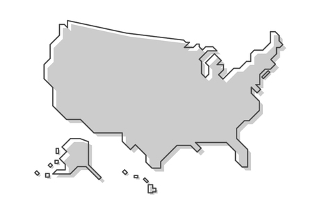 United States of America map . Modern simple line style . Vector .