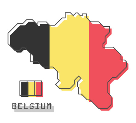 Belgium map and flag . Modern simple line cartoon design . Vector Иллюстрация