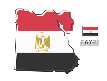Egypt map and flag . Modern simple line cartoon design . Vector .