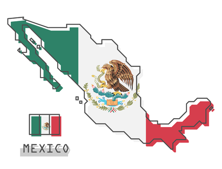 Mexico map and flag . Modern simple line cartoon design . Vector .  イラスト・ベクター素材